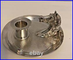 Vintage Hermes Silver Plated Horse Head Equestrian Candle Holder Euc