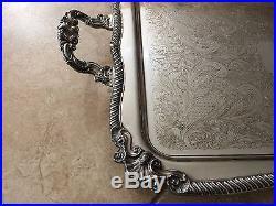 Vintage Huge Sheffield Silver on Copper Serving Platter Tray, Footed & Handled