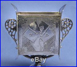 Vintage James Tufts Silverplate Playing Cards Holder 2589 Triple Plate