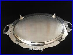 Vintage Large Footed Waiter Tray Baroque Wallace Silver 294F, 28 1/2 x 17 1/2