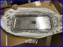 Vintage Large Sheffield Silver Plate Serving Tray with feet 25
