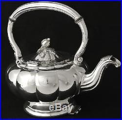 Vintage Melon Pattern Silver Plate Tilting Tea Pot Tipping Tea Pot Coffee Pot