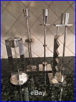 Vintage Mid Century Modern Swid Powell Richard Meier Silver Plate Candlestick