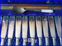 Vintage Mother of Pearl Fish Serving Knife & Fork Set Trimmed In Sterling