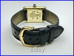 Vintage Must De Cartier Tank Paris Argent 925 Gold Plated Wrist Watch Quartz