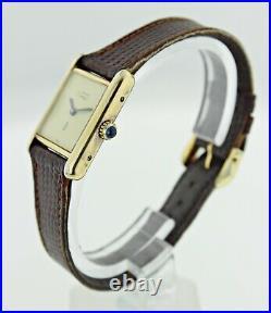 Vintage Must de Cartier Tank Vermeil 925 Silver Gold Plated Ladies Watch
