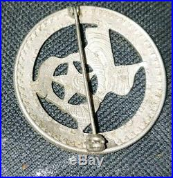 Vintage Obsolete Texas star badge on un 1947 peso. 999 sterling silver plate