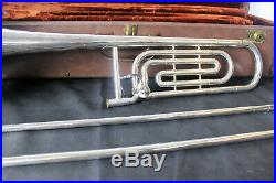 Vintage Olds Silver Plated Super Star Fullerton Ca Trombone With Case