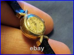 Vintage Omega Gold Plated Leather Hand Winding Ladies Watch