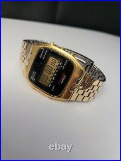 Vintage Omega Speedmaster LCD TV Dial Men's Wrist Watch Digital Gold Plated