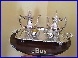 Vintage Oneida Silver Plated Tea Service Pattern Georgean Scroll Never Used