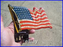 Vintage Plate topper USA Flag HARLEY KNUCKLEHEAD FLATHEAD PANHEAD BOBBER HOT ROD