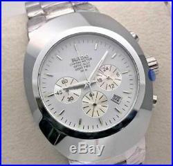 Vintage Rado Chronograph Quartz Battery Silver Plated Mens Wrist Watch Gift Item