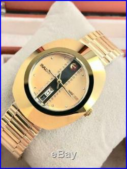 Vintage Rado Diastar Automatic 36mm Gold Plated Mens Wrist watch White Stone