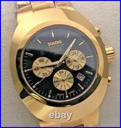 Vintage Rado Diastar Chronograph 36 MM Gold Plated Black Dial Men's Wrist Watch