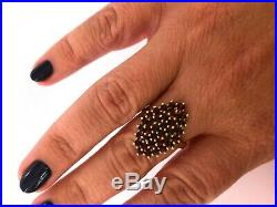 Vintage Rare Bohemian Silver Gold Plated Marked Garnet Ladie`s Ring with Box
