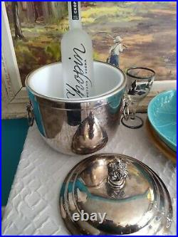 Vintage Rare LUNT Silver plated Champagne Ice Bucket With Lion Handles with liner