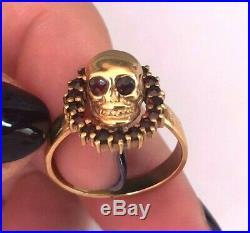 Vintage Rare Memento Mori Skulls 19th C. Silver Gold Plated & Garnets Ring #2