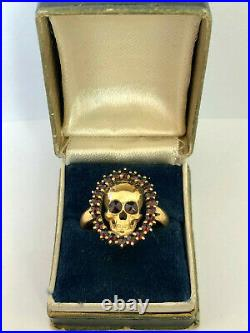 Vintage Rare Memento Mori Skulls 19th C. Silver Gold Plated & Garnets Ring & Box