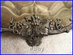 Vintage- Rare Ornate John Wanamaker GRAPE LEAF Silverplate Tray- Made in England