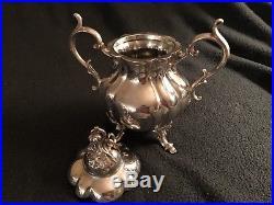 Vintage Reed Barton Winthrop (Pumpkin) 1795 Silver plate Coffee/Tea Set with tray