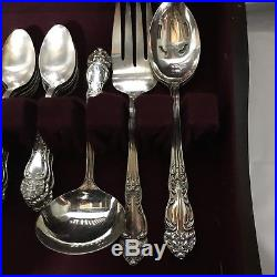 Vintage Reed and Barton Tiger Lily Silver plated Flatware with wooden box