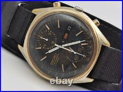 Vintage SEIKO 6138-8020 Black Panda Chrono Gold Plated Cal 6139A WORKING OK