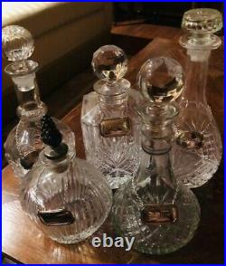 Vintage Set (2) Heavy Crystal Decanter Set with Custom Silver Plated Tags