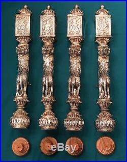 Vintage Set of 4 India Silver Plated Tiger Table Legs