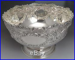 Vintage Sheffield Silver Plate Hand Chased Punch Bowl & 12 Cup Set