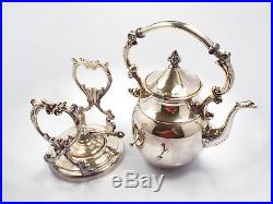 Vintage Sheridan Silver on Copper Tilt Tea Pot Coffee Pot Stand & Sterno Burner