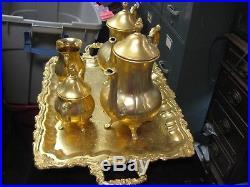 Vintage Sheridan Taunton Silversmiths Gold Electroplated Coffee Tea Set 2 Pots