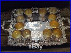 Vintage Sheridan silver plate punch bowl with 12 cups and ladle