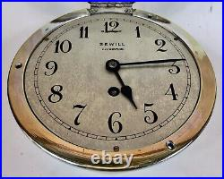 Vintage Ships Marine Bulkhead Clock, SEWILL LIVERPOOL, Silver Plated
