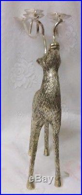 Vintage Silver Plate Christmas Reindeer Tea Lite Candle Holder Candelabra