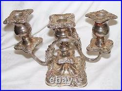 Vintage Silver Plate On Copper Ornate Candelabra 3 Arm Candlestick Sheffield