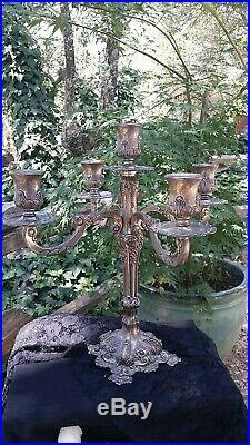 Vintage Silver Plate Ornate Floral Repouse Candelabra