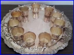 Vintage Silver Plate Sheridan Punch Bowl Set-Handle Cups-Ladle-Underplate-Tray