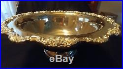 Vintage Silver Plated Large Elegant Punch Bowl Set with Tray, 12 Cups and Ladle