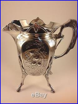Vintage Silver Plated Wilcox Silver Plate Tea Pot Set (Initialed)