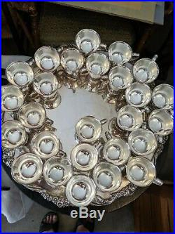 Vintage SilverPlate Punch Bowl Set with 26 Cups, Ladles and Tray 1847 Rogers Bros