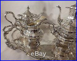 Vintage Silverplated Gorham Strasbourg Coffee/Tea Service with Serving Tray