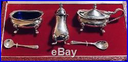 Vintage Sterling Silver 3 Piece Condiment Set