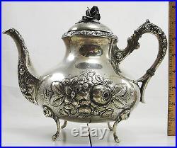 Vintage Sterling Tea Coffee Set of 4 Hollowware Rose Design Handarbeit Germany