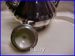 Vintage Sterling silver Clad Rosenthal Coffee pot Sugar Creamer Set 1950's Era