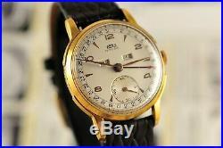Vintage Swiss Arsa Triple Calendar 35mm 18K Gold Plated case Manual Wind Watch