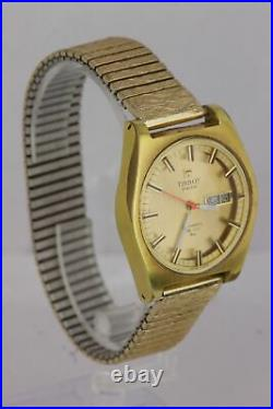 Vintage Tissot Swiss Automatic PR 516 GL Day Date 36mm Gold Plated Steel Watch