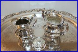 Vintage Towle Silver Plated 5 Pc Coffee/Tea Set, Teapot, Creamer, Sugar & Tray