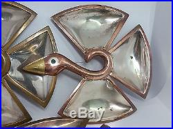 Vintage Trio of c. 1960 Los Castillos Silverplate and Brass Handmade Bird Trays