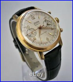 Vintage Zedon Chronograph, VALJOUX 7734, Great Condition Runs Great, Gold Plated